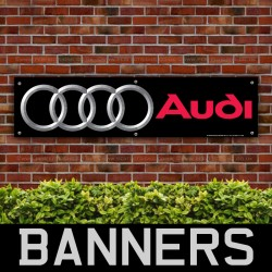 Audi Car Silver on Black PVC Banner