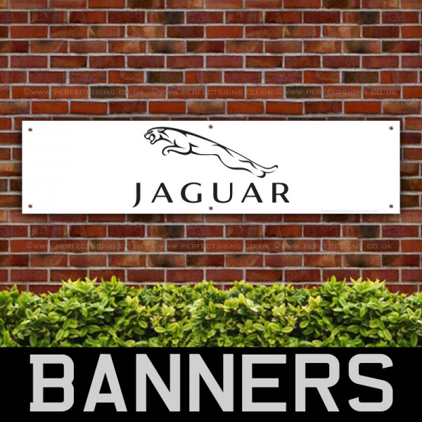 Jaguar Car Black on White PVC Banner