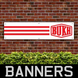 BUKH Tractor Red Stripes PVC Banner