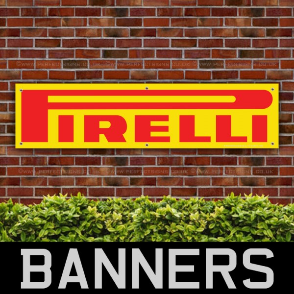 Pirelli Red and Yellow Tyres PVC Banner