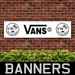VANS Off the Wall Island Black White PVC Banner