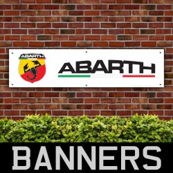 Abarth PVC Banner Garage Workshop Fiat 500 Punto Evo 500C Signs