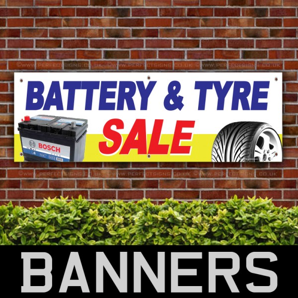 Battery and Tyre Sale PVC Banner