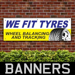 Tyres Sold and Fitted PVC Banner