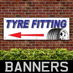 Tyre Fitting Left Direction PVC Banner
