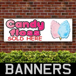 Candy Floss Sold Here PVC Banner