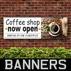 Coffee Shop Now Open PVC Banner