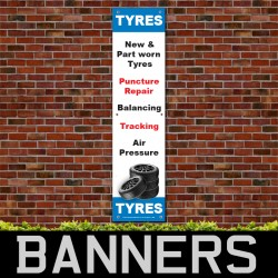 New Part Worn Puncture Balancing Tyre PVC Banner