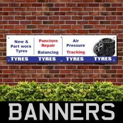 New Part Worn Puncture Repair Air Pressure Tyre PVC Banner