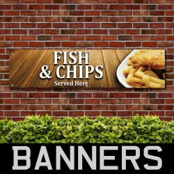 Fish and Chips Served Here PVC Banner