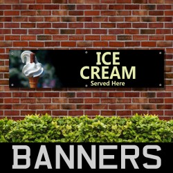 Ice Cream Served Here PVC Banner