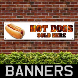 Hot Dogs Served Here PVC Banner