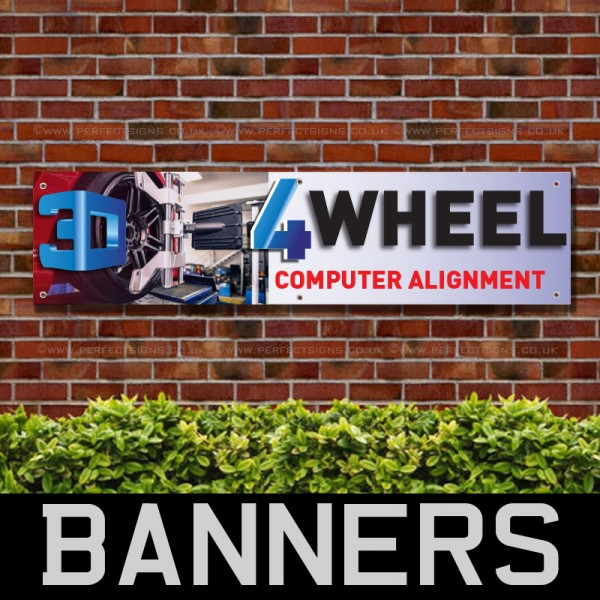 3D 4Wheel Computer Alignment PVC Banner