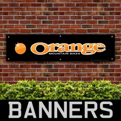 Orange Mountain Bikes Black PVC Banner