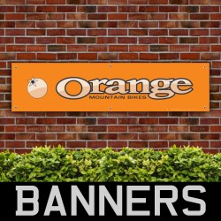 Orange Mountain Bikes Cream PVC Banner