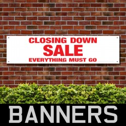 Closing Down Sale Everything Must Go Red PVC Banner