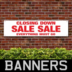 Closing Down Sale Sale Everything Must Go Red PVC Banner