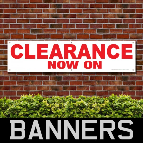 Clearance Now On Red PVC Banner
