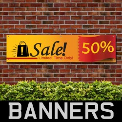 50 Percent Sale Limited Time Only PVC Banner