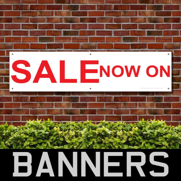 SALE Now On Red White PVC Banner