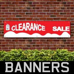 Clearance Sale Red White PVC Banner