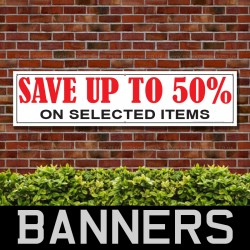 Save Upto 50 Percent PVC Banner