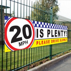 20 IS PLENTY ! Child Safety PVC School Banner