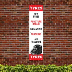 New Tyres Puncher Repair Balancing Tracking Air Pressure PVC Banner
