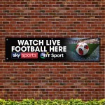 Watch Live Football Here PVC Banner