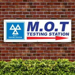M.O.T Testing Station Direction Right Arrow PVC Banner