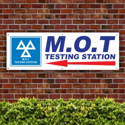 M.O.T Testing Station Direction Left Arrow PVC Banner