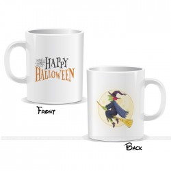 Witch On Broom Happy Halloween Mug