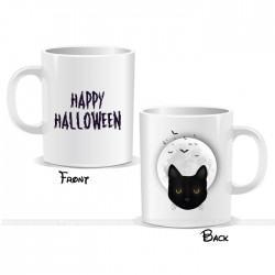 Cat Face Moon Happy Halloween Mug
