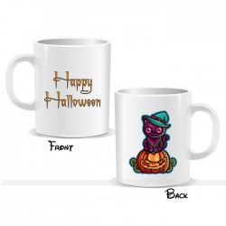 Cat On Pumpkin Happy Halloween Mug