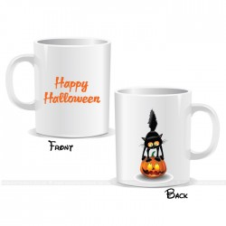 Scary Cat Witch Pumpkin Happy Halloween Mug
