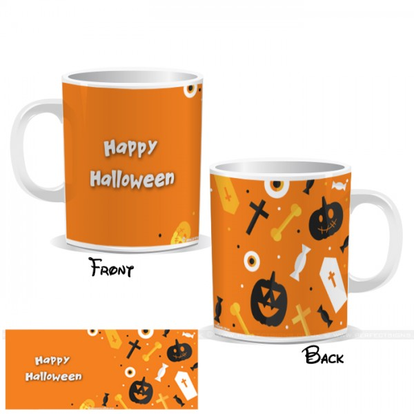 Happy Halloween Orange Wrap Mug