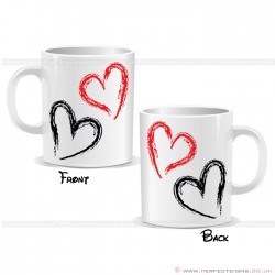 Hearts Black And Red Mug