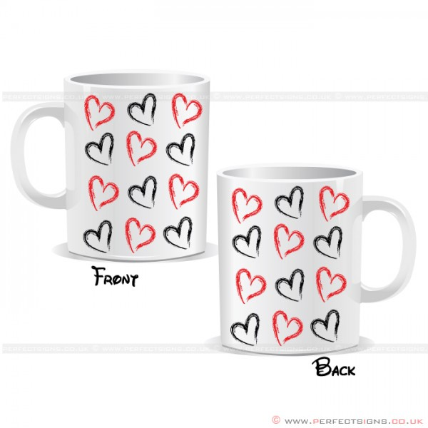 Hearts Black And Red Wrap Mug