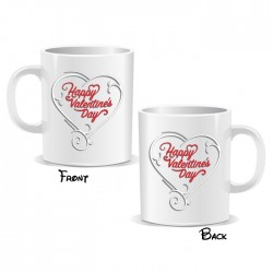 Happy Valentines Day White Heart Mug