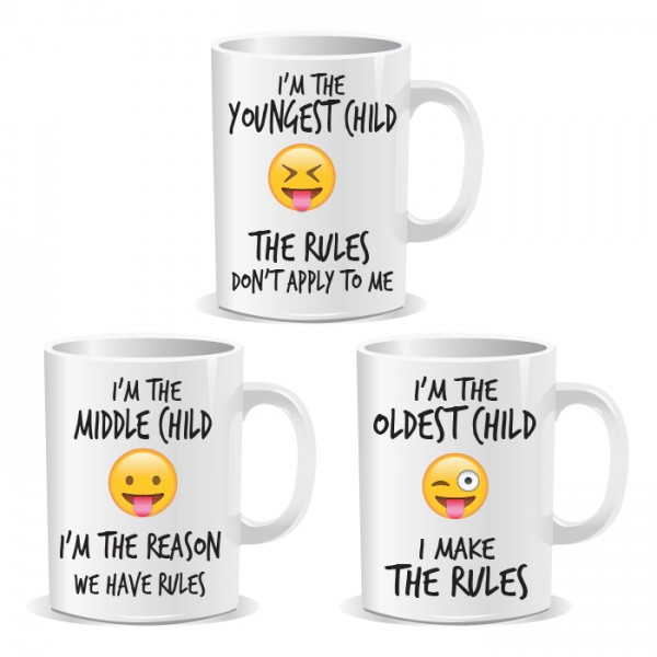 Youngest Middle Oldest Children Siblings Rule Set of 3 Mugs