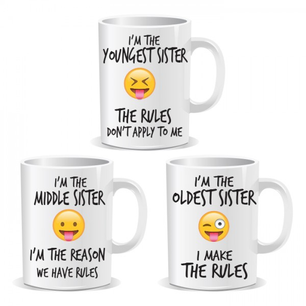 Youngest Middle Oldest Sisters Siblings Rule Set of 3 Mugs