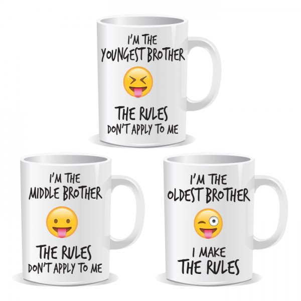 Youngest Middle Oldest Brothers Siblings Rule Set of 3 Mugs
