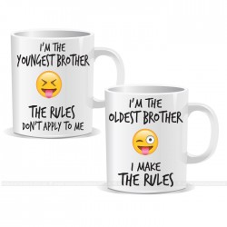 Youngest Oldest Brothers Siblings Rule Set of 2 Mugs