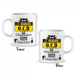 Warning O.C.D Obsessive Cat Disorder Mug
