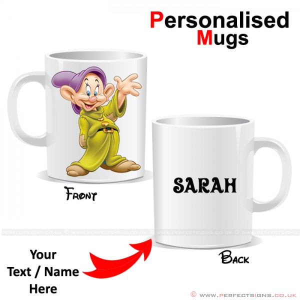 Dopey Dwarf Disney Cartoon Character Personalised Mug