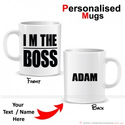 I'm The Boss Lined Personalised Printed Mug