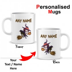 Halloween Witch On Broom Personalised Printed Mug