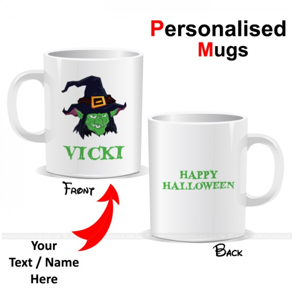 Halloween Witch With Hat Personalised Printed Mug