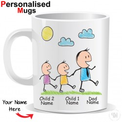 Personalised Father and Two Child Mug
