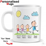 Personalised Father and Three Child Mug